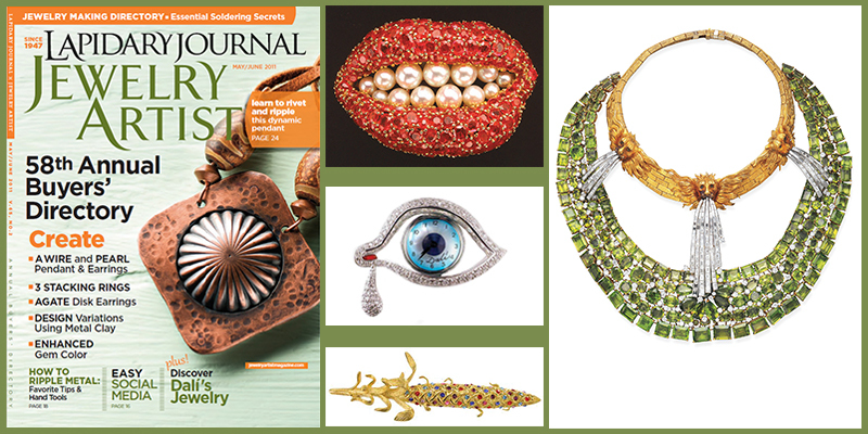 The May/June 2011 issue of Lapidary Journal Jewelry Artist featured an article on Salvador Dalí's jewelry designs Beading with the Masters