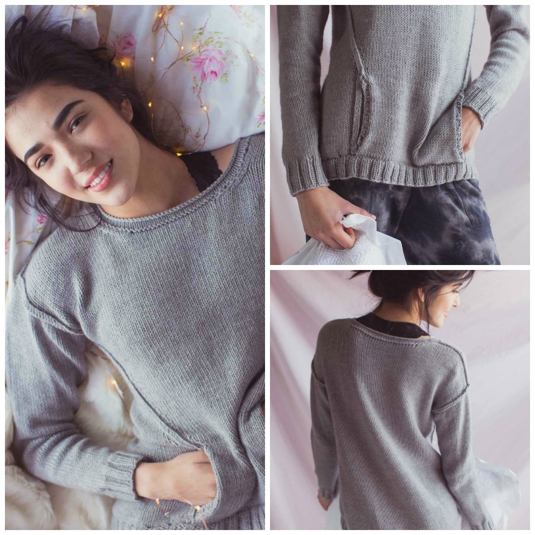 A cute kanga pocket and visible seams make the casual, youthful Dejlig Sweater a must-knit winter knitting pattern.