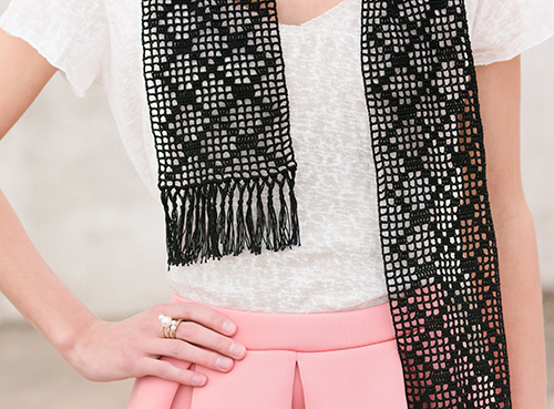 Close up of filet crochet in Diamond Filet Scarf