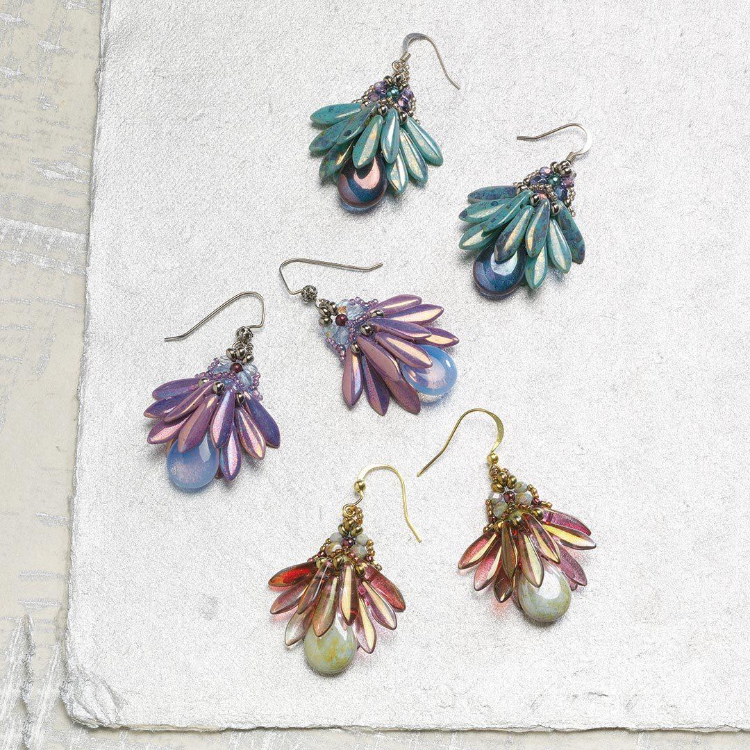 Fan Flower Earrings by Penny Dixon beaded holiday gifts