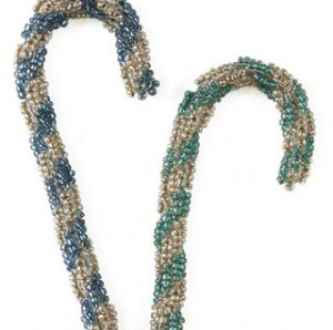 The Double Mint Spirals is a beaded spiral ropes ornament pattern found in our free Beaded Ornaments eBook.