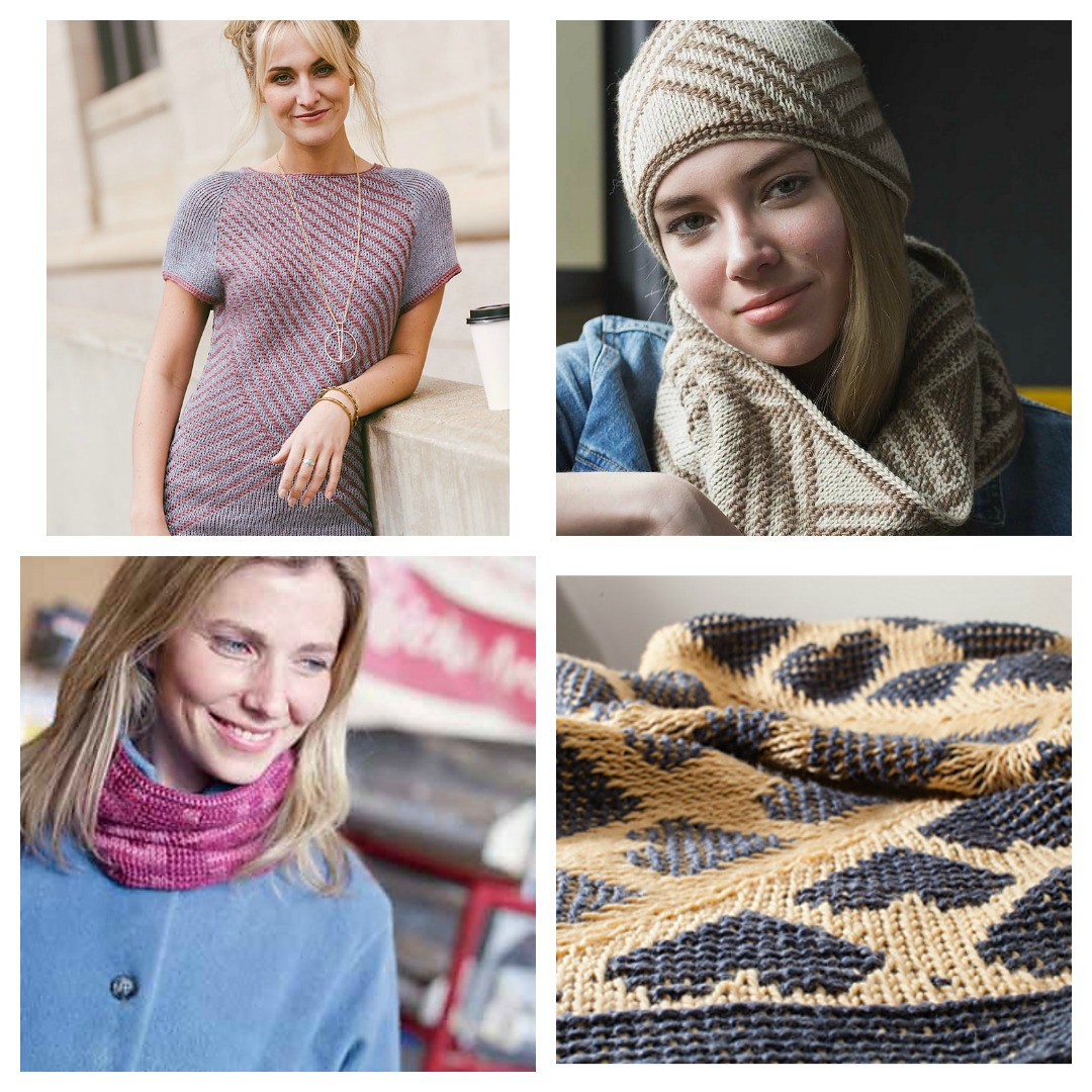 Double-ended Tunisian crochet is a beautiful way to work in the round and Tunisian colorwork. Clockwise from top left: Citizen Pullover, Urbane Hat and Cowl, Heart Throw, and Bitmap Cowl.