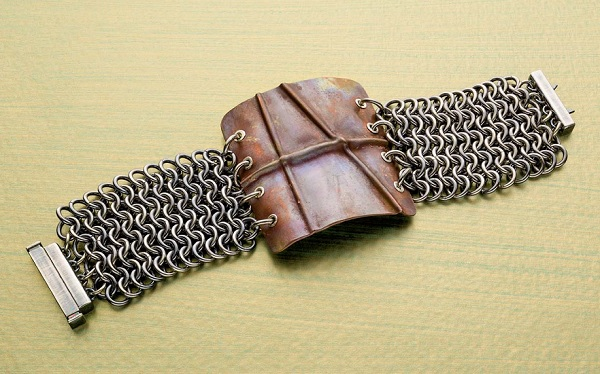 Double the Fun chain maille and fold formed bracelet by Jennifer Carlson