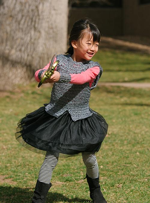 Playing in the Dragon Slayer Crochet Tunic