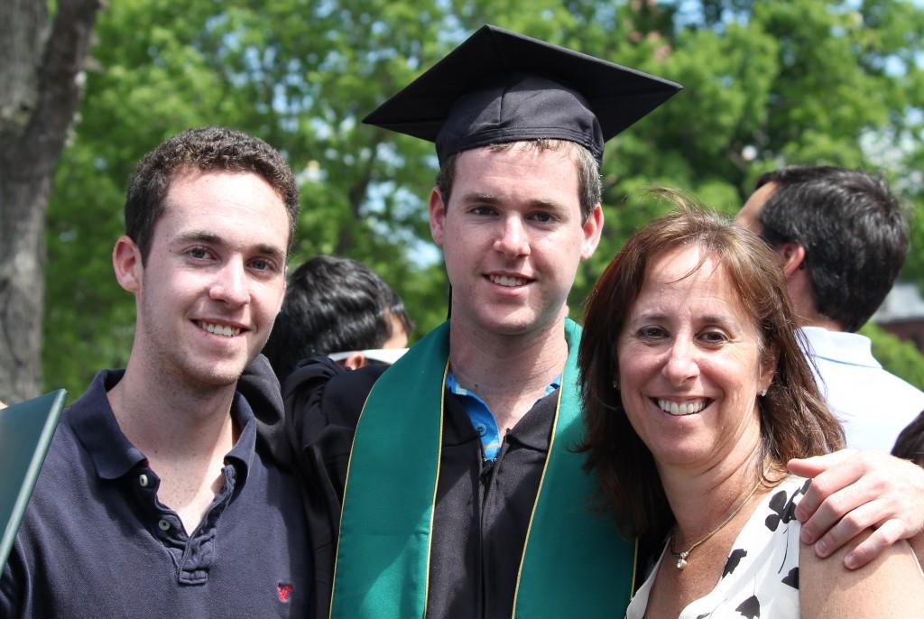 Evan, Drew, and Lori on Drew's graduation day, 2010.