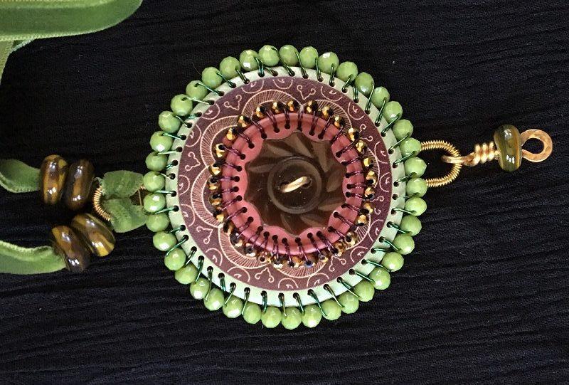 Helen Driggs metalsmithing cllasses Bead Fest button pendant