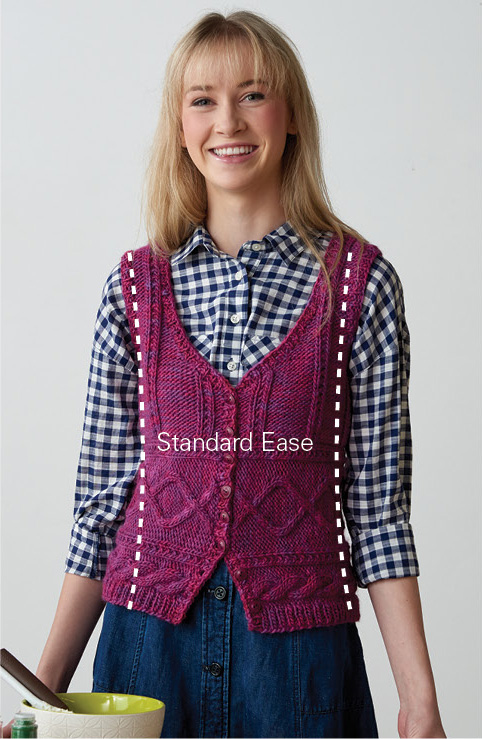 An example of standard ease in a knit vest. In this blog, learn how your bust measurement is important to guide your size choice.