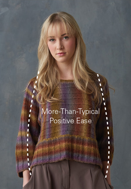 An example of positive ease in a knit pullover. In this blog, learn how your bust measurement is important to guide your size choice.