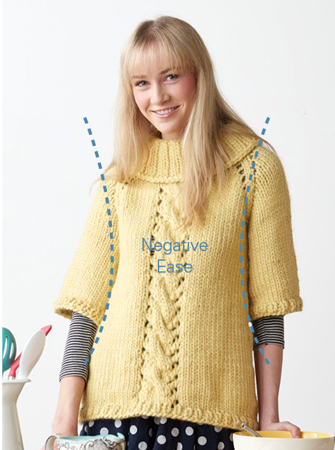 An example of negative ease in a knit pullover. In this blog, learn how your bust measurement is important to guide your size choice.