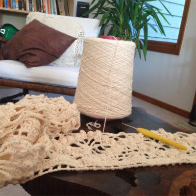 Sara's work in progress of the Emergence Crochet Shawl by Kathryn White