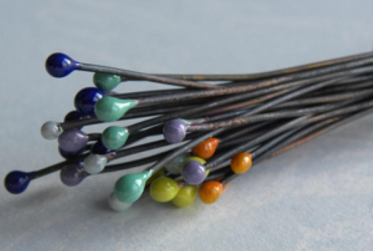 torch fired enamel head pins