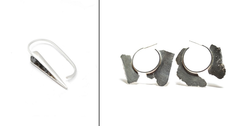 artisan jewelry making: Point ring from Enji Studio Jewelry and Torn hoop earrings from Seth Papac.