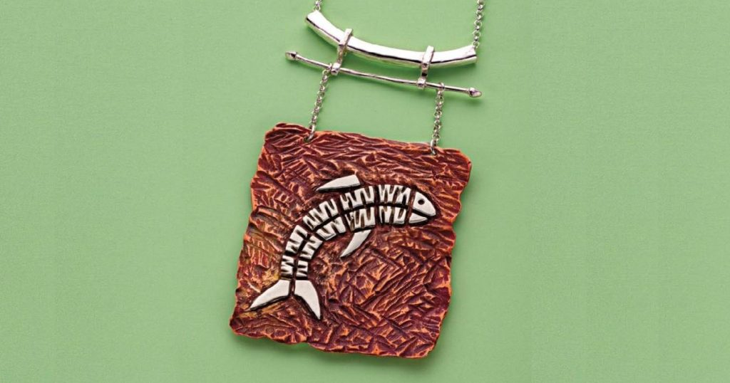 Erica Stice's Textured Silver on Copper Fish Pendant, Lapidary Journal Jewelry Artist, April 2017; photo: Jim Lawson