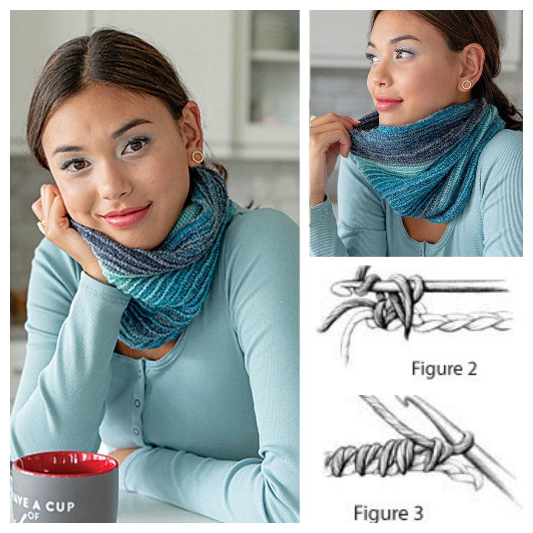 The Esker Cowl uses variegated yarn, foundation single crochet, front loop and back loop only stitches, and reverse single crochet to create a unique but easy to make crochet cowl.