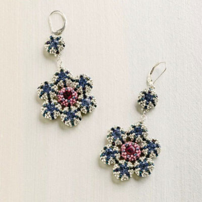 Favorite Bead Stitches: Retro Blossom earrings by Jill Wiseman, which use tubular peyote stitch, tubular netting, and square stitch for a very wearable earring!