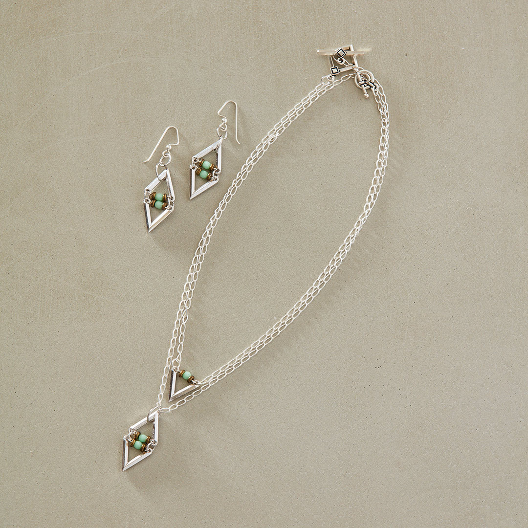 V-Link Necklaces by Tracy Gonzales geometric designs