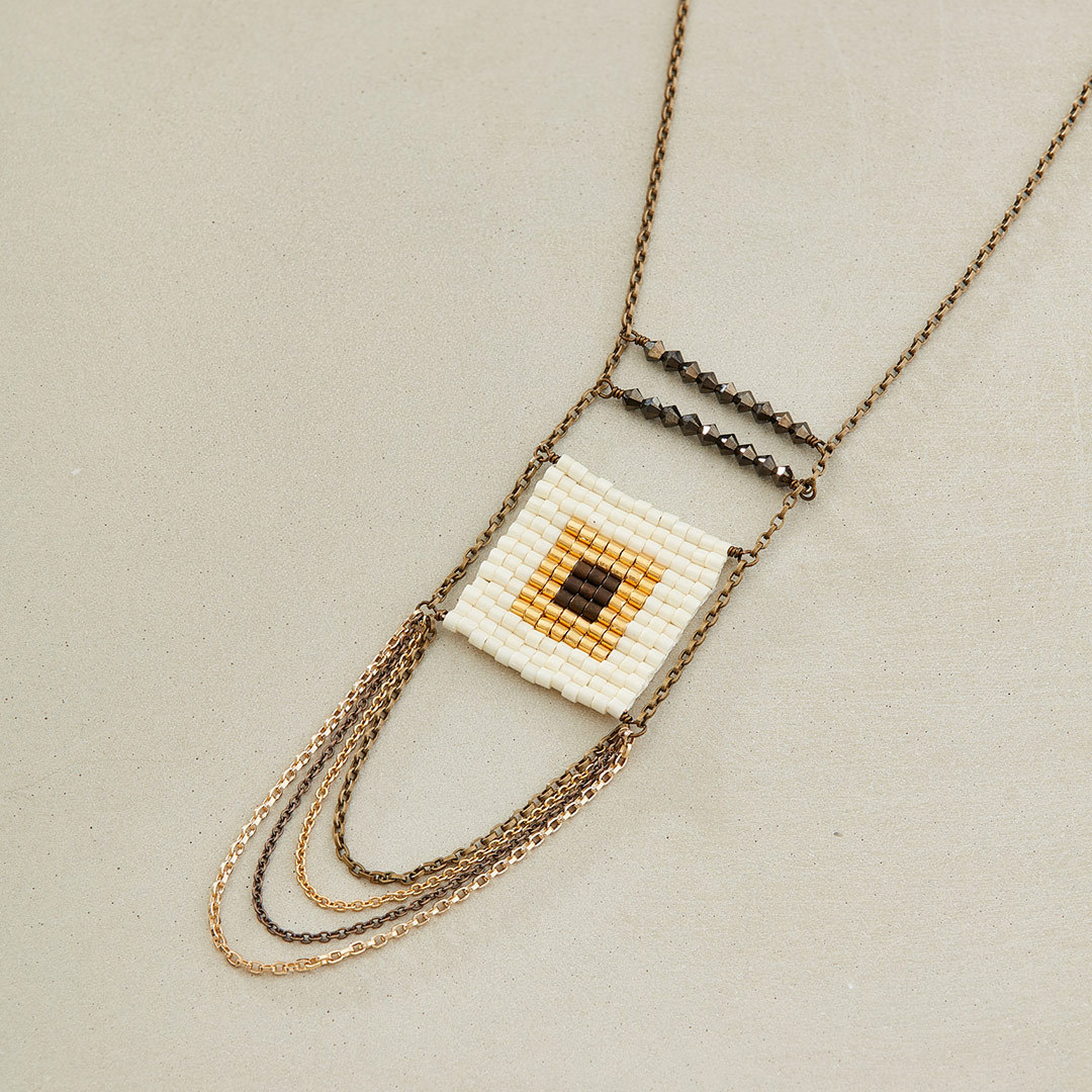 Allison Hoffman's Hip to Be Square Necklace geometric designs