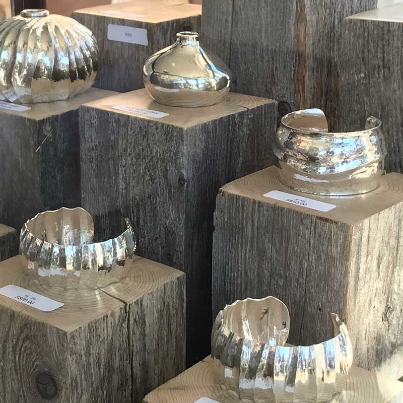Vessels and bracelets by Bill Fretz. Tucson shows