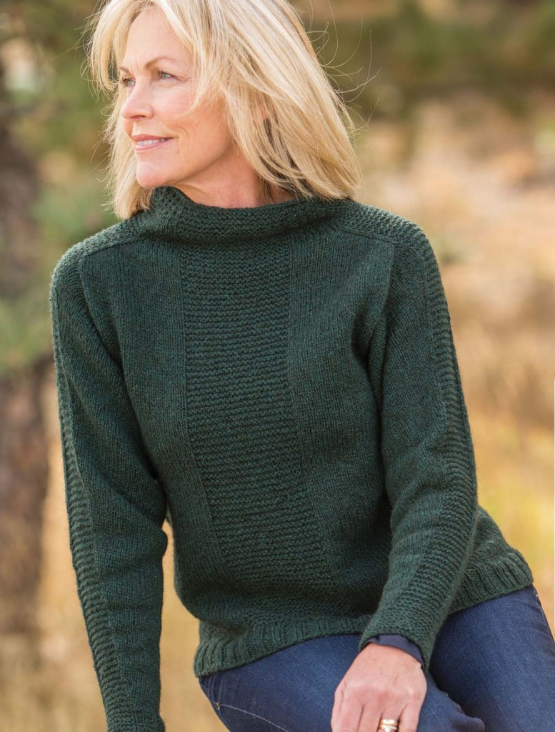 knit sweater pattern: Ellen Saddle Gansey sweater pattern