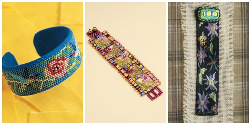 Bead Weaving: Summer-Inspired Beading Designs for the 4th of July. Flower bracelets: Hummingbirds and Trumpet Vine Cuff Bracelet, Garden Windows Bracelet, Flower Garden Loom-Woven Bracelet