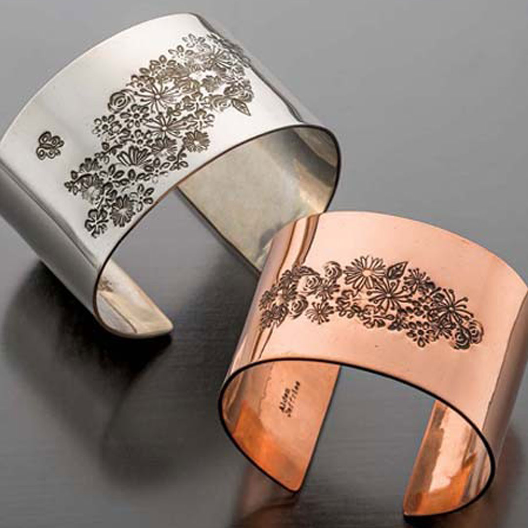 stamped metal jewelry, Jeff Fulkerson Stamped Flower Cuff Silver, copper PHOTO: JIM LAWSON
