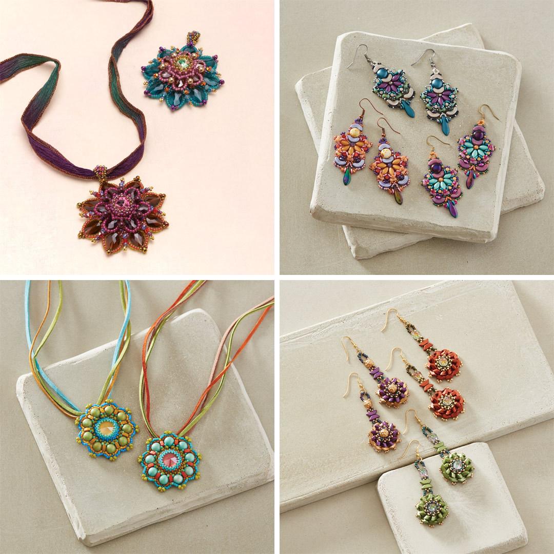 Charlotte Hirschberger's Gazania Pendant, Michelle Gowland's Calypso Pendant, Vezsuzsi's Corentin Pendant, and Susan Sassoon's Tinos Flower Earrings