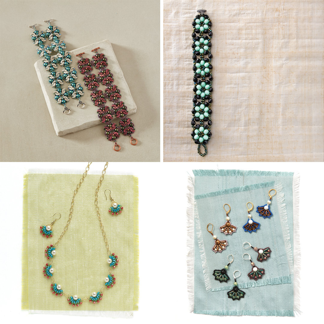 Laura Graham's Hannya Mask Cuff, Martha Aleo's Tokyo Rows Bracelet, Jennifer and Susan Schwartzenberger's Japanese Fan Necklace, and Silke Steuernagel's Japanese Fan Earrings