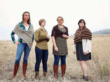 Louisa, Hannah, Laura, and Lindsay model their time-traveling knits