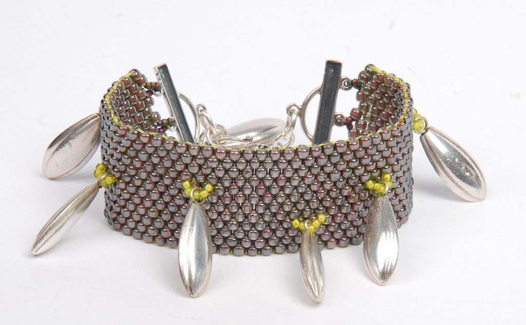 Hill Tribe Silver Fringe Peyote Bracelet, by Tammy Honaman. Peyote Bead Weaving Instructions with bead fringe