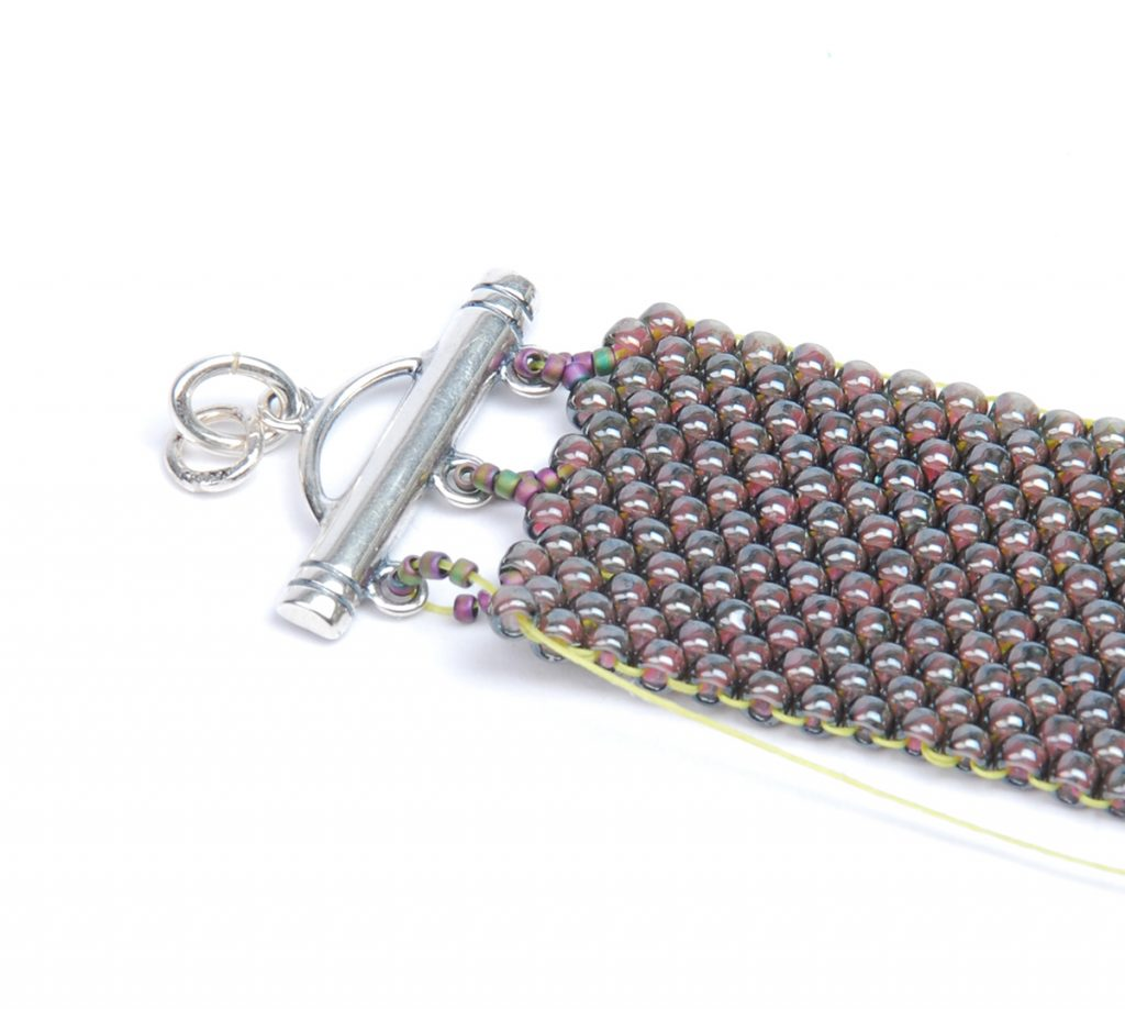 Hill Tribe Silver Fringe Peyote Bracelet, by Tammy Honaman. Peyote Bead Weaving instructions Step 3