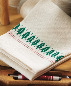 Weave cute overshot towels with a sweet little tree motif. Perfect for handwoven holiday gifts!