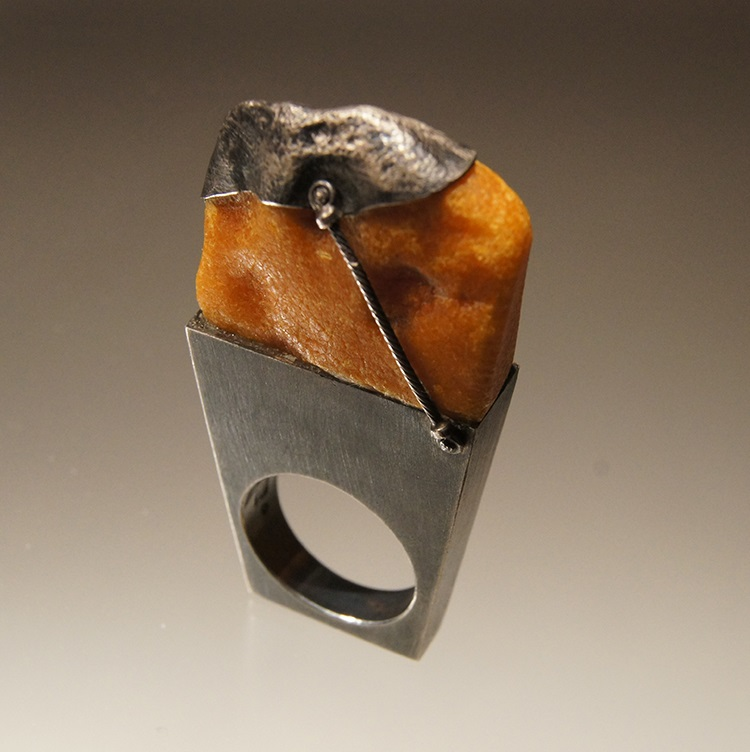 """""""From the Baltic"""" Materials: sterling silver, Baltic amber, handmade silver cable. Inspiration: a trip to Estonia."""