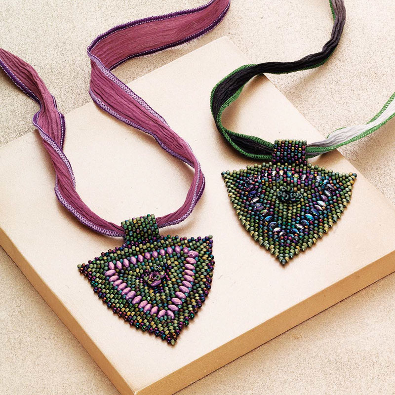 Triverse Pendant by Phyllis Dintenfass is a great project for those trying to learn herringbone stitch.