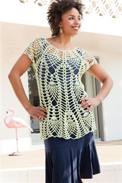 This pineapple crochet lace top is a great coverup.