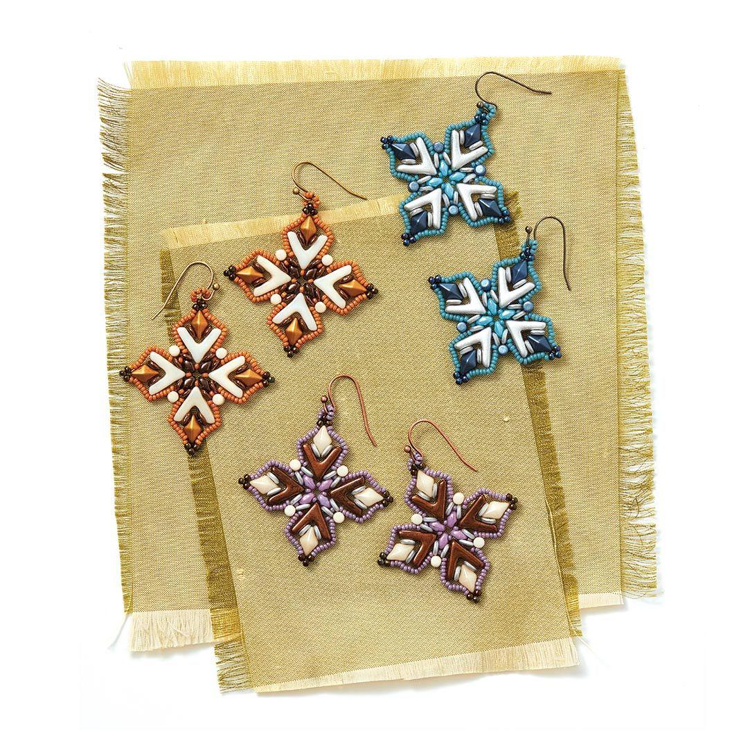 shaped beads projects: Egyptian Flower Earrings
