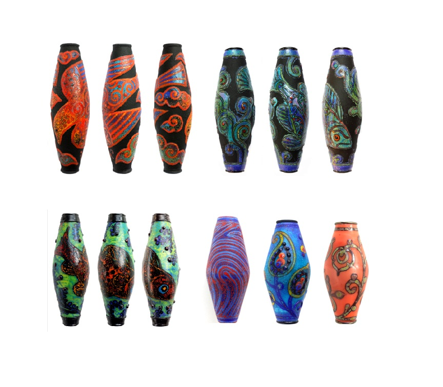 Glass powder and enamel-embellished lampwork beads by Holly Cooper