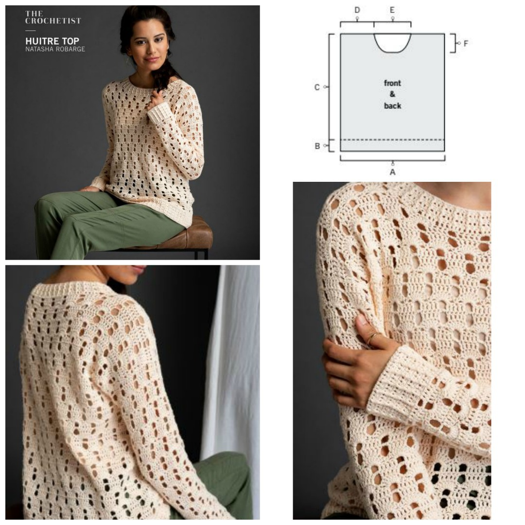 Huitre top down crochet sweater