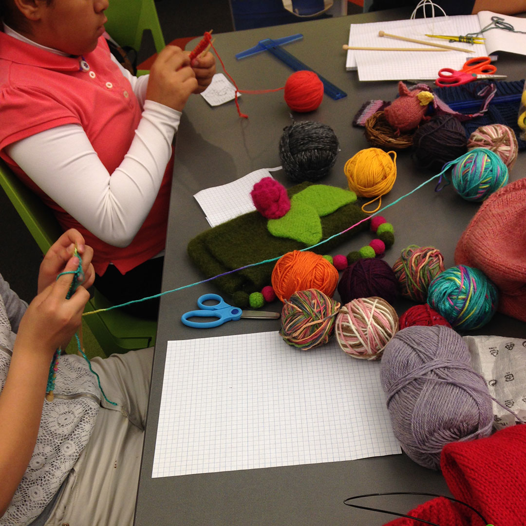 Students in the KnitLab program at Vanderbilt University learn engage with math concepts by designing their own knitted objects. Photo courtesy of Melissa Gresalfi.