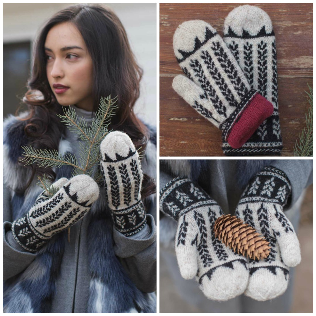The Ibex Valley Mittens are a fun winter knitting pattern featuring stranded colorwork wheat sheaf motifs in dramatic black and white, with a cheery red lining.