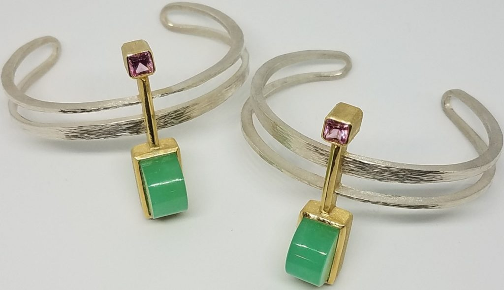 Michael David Sturlin goldsmith Interlude Cuffs 1, Continuum sterling silver, 18K gold, chrysoprase, pink spinel; photo: Michael David Sturlin