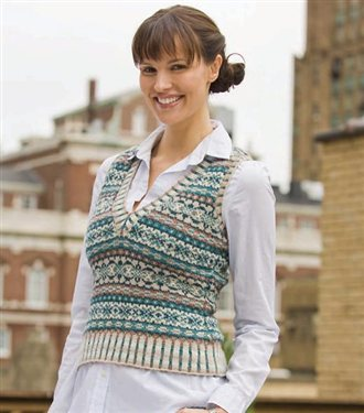 Knitting expert Eunny Jang demos the Ivy League Vest pattern, which is a Fair Isle knitted colorwork pattern. Learn how to fair isle knit in her video!