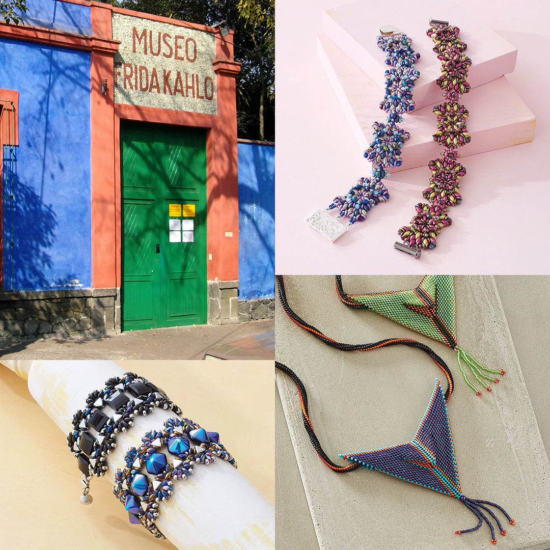 Frida Kahlo's Home and now museum dedicated to her work (Photo: Nachtwächter), Michelle Heim's Caño Cristales Bracelet, Svetlana Chernitsky's Mariposa Bracelet, and Wendy Ellsworth's Steelstack Pendant