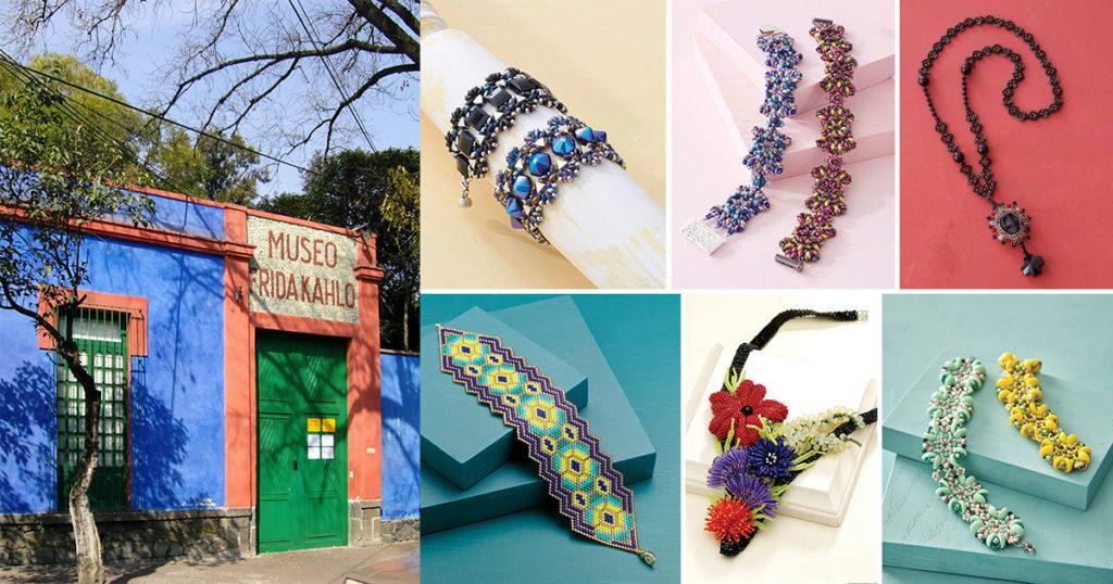 La Casa Azul – the Frida Kahlo Museum (Photo: Nachtwächter), Svetlana Chernitsky's Mariposa Bracelet, Michelle Heim's Caño Cristales Bracelet, Sandra Kane's Voodoo Queen Necklace, Carole E. Hanley's Cactus Flower Bracelet, Diane Fitzgerald's Floral Collage Necklace, and Evelína Palmontová's Ocean Treasures Bracelet.