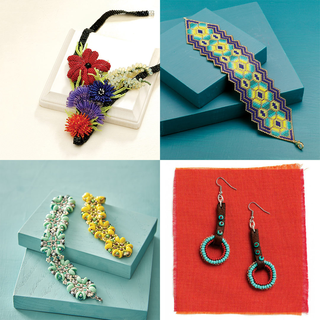 Diane Fitzgerald's Floral Collage Necklace, Carole E. Hanley's Cactus Flower Bracelet, Evelína Palmontová's Ocean Treasures Bracelet, and Cindy Kinerson's Riding Day Earrings