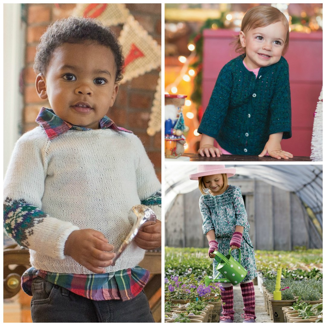 "You can make the <a href=""https://www.interweave.com/store/little-snowflake-sweater-knitting-pattern"" target=""_blank"" rel=""noopener"">Little Snowflake Sweater</a>, the <a href=""https://www.interweave.com/store/sweet-little-cardigan-pattern"" target=""_blank"" rel=""noopener"">Sweet Little Cardigan</a>, and the <a href=""https://www.interweave.com/store/warm-stripes-set-knitting-pattern"" target=""_blank"" rel=""noopener"">Warm Stripes Set</a> in no time! 