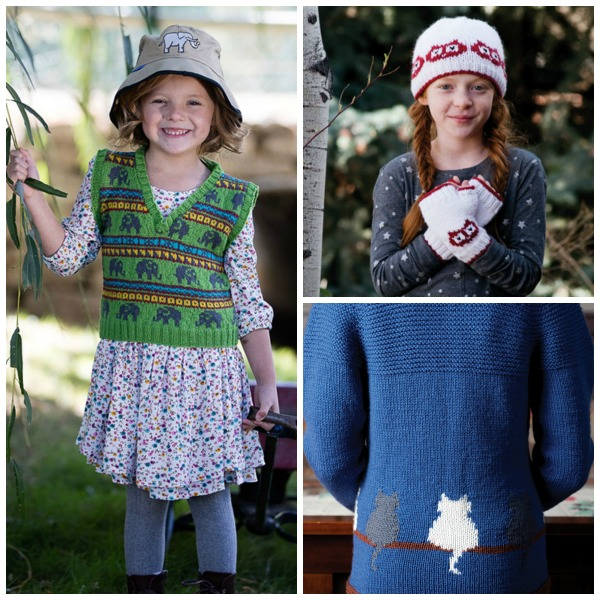 Make something silly—and cute!—for the kid in your life. Clockwise from left: The Elephant Safari Children's Vest, Hoot Sweet Hat & Mitts, Window Cat Child's Cardigan. | Photos by George Boe and Carmel Zucker