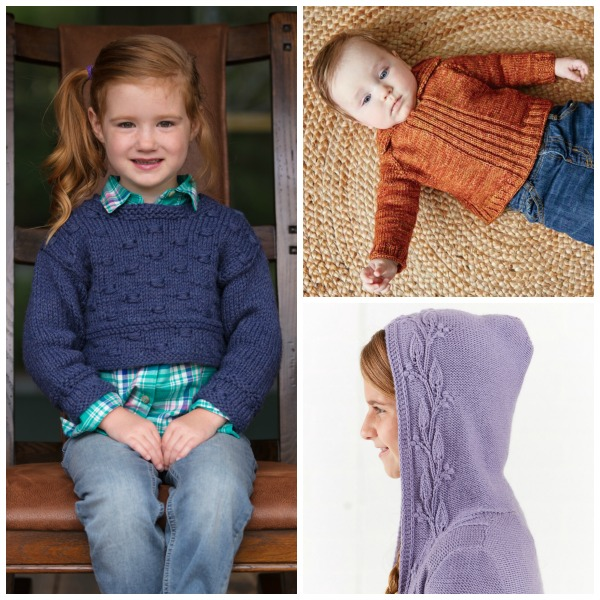 Knitting for kids: When you knit for kids, you don't have to worry about fitting a particular body type or using a fancy fiber. As long as the fit and yarn are comfortable, kids will be happy! Try the Ruhnu Cropped Pullover, the Red Feather Sweater, or the Windy Woods Girls Hoodie in superwash yarn. | Photos by George Boe and Harper Point Photography