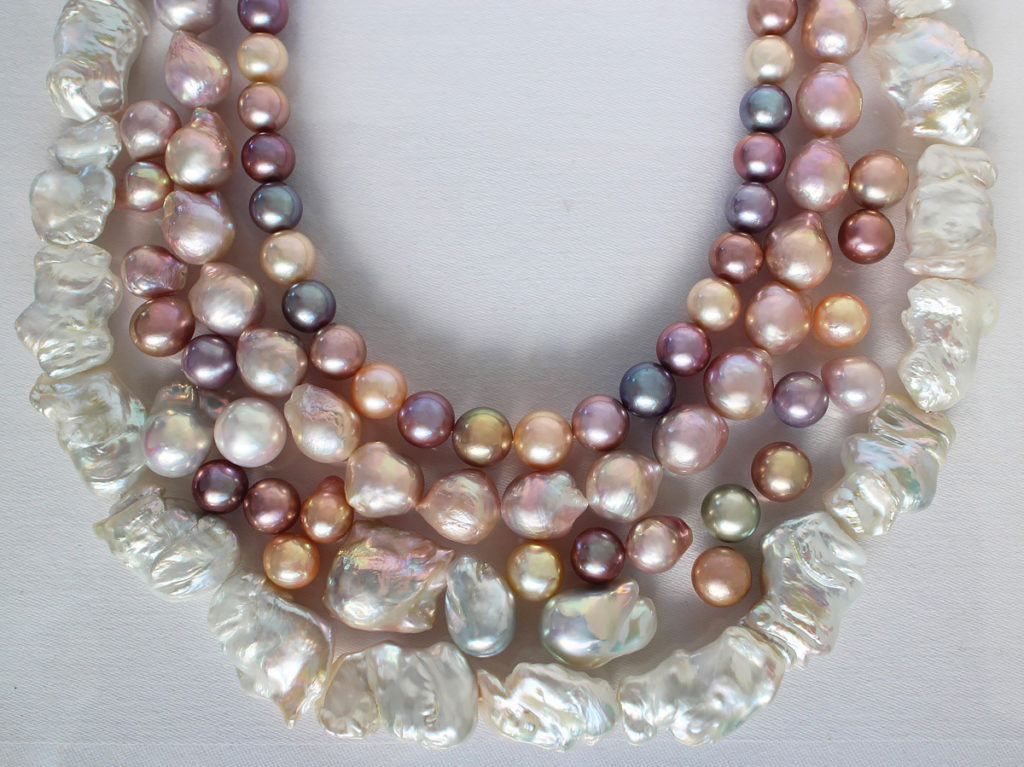 One gemstone that, for decades, came with very definite expectations were pearls—which had to be round and white. Those expectations have gone out the window. Pearls like these confetti colored round pearls, and those with baroque shapes, and wrinkled surfaces, are welcomed and prized today. Photo Betty Sue King. Courtesy Betty Sue King, King's Ransom.