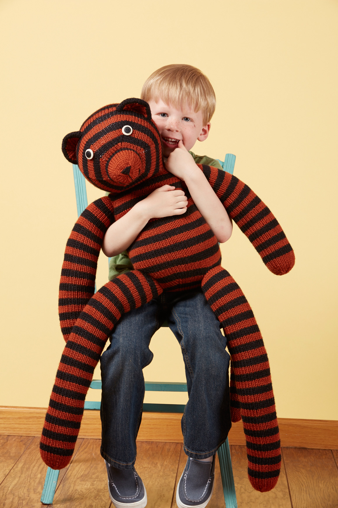 Giant Tiger knitting pattern from Love of Knitting Toys by Emily Kintigh