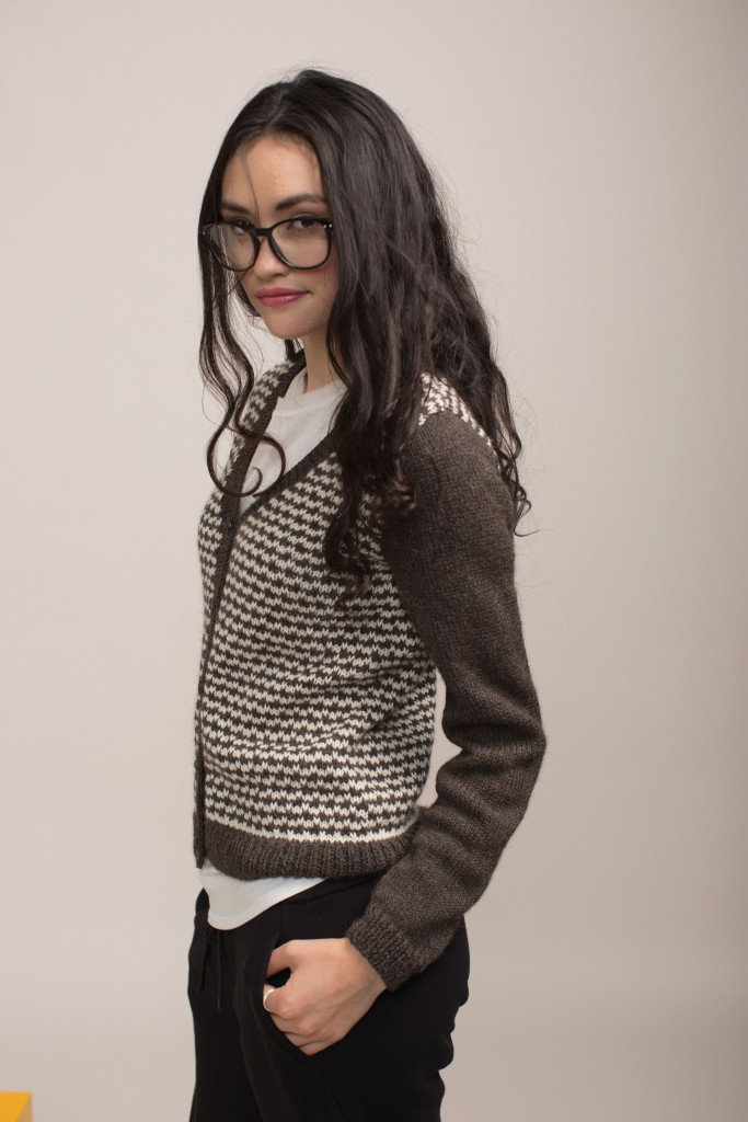You'll love this knitted cardigan pattern that uses mock houndstooth fabric and a simple slip-stitch pattern exclusively from Knitting Daily.